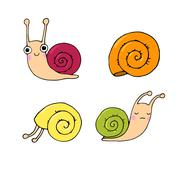 A set of cute little snails Stock Illustration