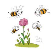 Cute cartoon bees - stock illustration