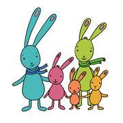 Family of cute cartoon hares - stock illustration