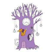 Magic tree, clock, fox and hare - stock illustration