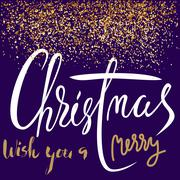Wish You a Merry Christmas. Greeting Card. Golden glitter. EPS10 - stock illustration