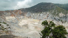A scenic view of Tangkuban Perahu which is the biggest volcanic crater. 4K Stock Footage
