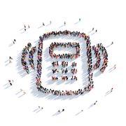 Smartphone people 3D rendering Stock Illustration