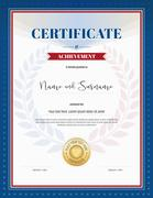 Certificate of achievement template in red and blue border, laurel backgroud  - stock illustration