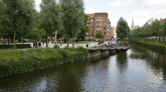 Wide shoot of beautiful river bank in center of Aarhus Stock Footage