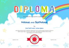 Colorful kids diploma certificate in cartoon style with sky rainbow and kids  - stock illustration
