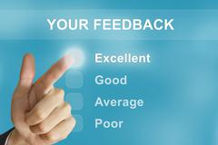 Business hand pushing your feedback button Stock Photos