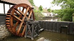 Wide shoot of old watermill functioning Stock Footage