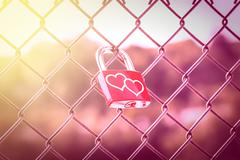 Love Lockers with pink tone and soft light style Stock Photos