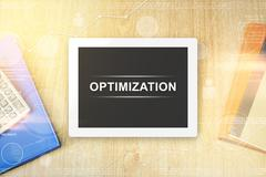 Optimization word on tablet Stock Photos