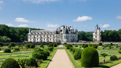 Timelapse of Chenonceau Castle in Chenonceaux, France, from Diane's gardens Stock Footage