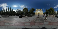 360Vr Video People Stroll at Vladimir Cathedral Wedding Day Kiev Pedestrians - stock footage
