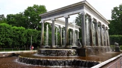 Lion Cascade of Peterhof Lower Park, orbital shot of fountain Stock Footage