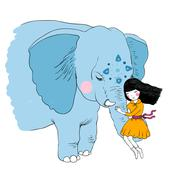 Beautiful girl and the elephant - stock illustration