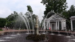 Eve Fountain and treillage gazebo at Peterhof Lower Gardens, slow motion Stock Footage