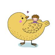 Cute cartoon baby and big bird Stock Illustration