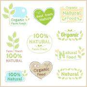 Set of organic non chemical quality and fair trade guarantee tag label emblem Stock Illustration