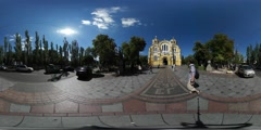 360Vr Video People Nearby Vladimir Cathedral Wedding Day Kiev Pedestrians - stock footage