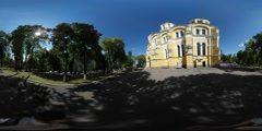 360Vr Video Man Filming Vladimir Cathedral Kiev Holding Camera on a Stick Stock Footage