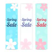 Set of spring banner background with cherry blossom in vertical Stock Illustration