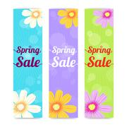 Set of spring season sales vertical banner background - stock illustration
