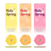 Set of colorful hello spring season banner in vertical - stock illustration