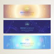 Set of abstract banner design with line sparkle background in vector Stock Illustration