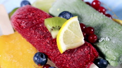 Popsicles with berries and fruit Stock Footage