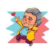Happy Old Man Two Hands Pointing for Love Piirros