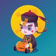 Chinese Hopping Vampire Ghost for Halloween - stock illustration