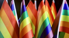 LGBT rainbow small flags Stock Footage