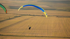 Paraglider in the sky over the steppe Stock Footage