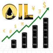 Crude oil price increase abstract illustration with uptrend green arrow, oil  Stock Illustration