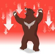 Bear market presents downtrend stock market concept with graph in background Stock Illustration