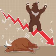 Stock market concept bull and bear Stock Illustration
