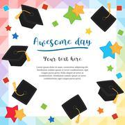 Colorful graduation day card illustration design with flying graduation caps - stock illustration