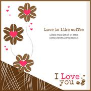 Love is like coffee card background banner with heart and coffee bean flower Stock Illustration