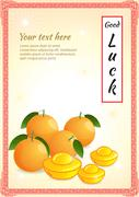 Four oranges and gold tael represent chinese culture wish you good luck - stock illustration