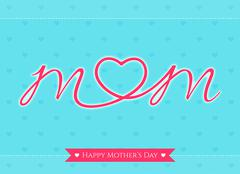 Happy mother's day banner card with heart in the middle - stock illustration