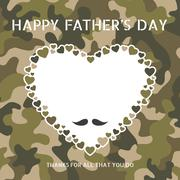 Happy father's day on camouflage pattern with moustache and heart Stock Illustration