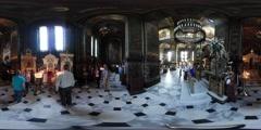 360Vr Video People Wedding Day Vladimir Cathedral Kiev Ceremony Iconostasis Stock Footage
