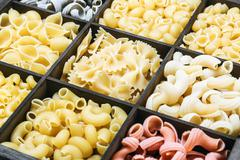 pasta assortment of different colors - stock photo