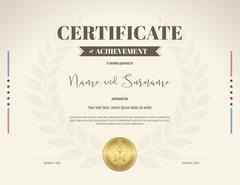 Certificate of achievement template in brown theme on beige color with laurel Stock Illustration
