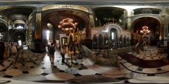 360Vr Video Couple Wedding Day Vladimir Cathedral Kiev Bride in White Fluffy - stock footage