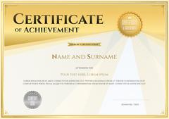 Certificate template in vector for achievement graduation completion Stock Illustration