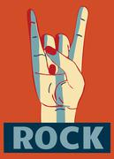 Hard rock stylish template  for slogan, poster or flyer on red background Stock Illustration