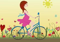 Pregnant girl rides a Bicycle on a blossoming field in the background of the - stock illustration