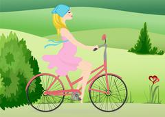 Pregnant woman  rides a Bike across the field Stock Illustration
