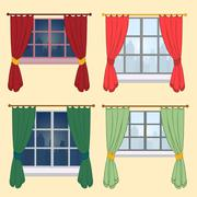 Set of curtains on a yellow background - stock illustration
