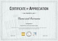 Certificate of appreciation template with grey wooden background in vector Stock Illustration